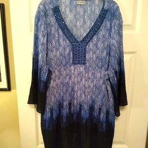 Catherine's  blue beaded tunic. Size 1X